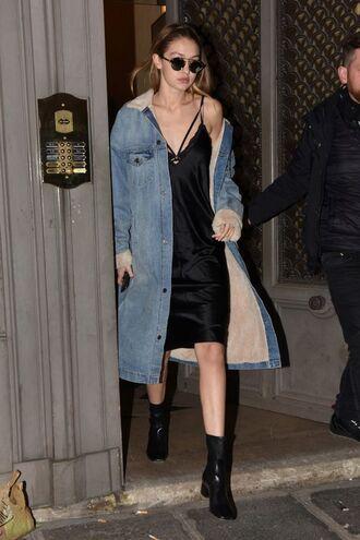 dress slip dress black slip dress black dress boots black boots gigi hadid celebrity model sunglasses coat denim coat