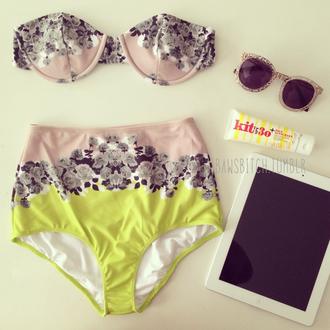 swimwear hipster bikini high waisted sunglasses yellow vintage bikini top bikini bottoms floral floral bikini tropical pink pink bikini bra