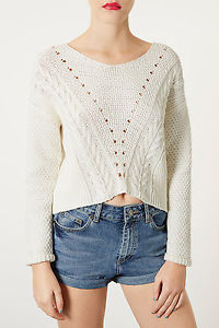 TOPSHOP Knitted Mix Stitch Crop Jumper UK16 | eBay