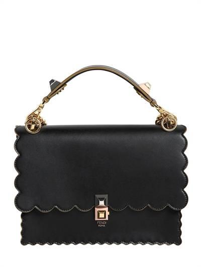 FENDI, Medium kan i scalloped leather bag, Black, Luisaviaroma