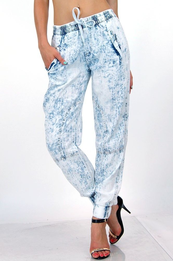 Acid wash waist draw string smocked ankle side pockets denim 11107 jogger pants