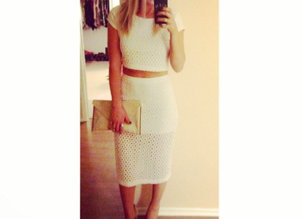 dress clothes crop tops crop top and pencil skirt white dress white crop tops
