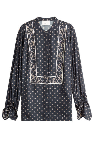 blouse tunic silk blue top