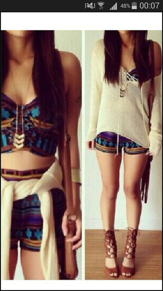 aztec top jumpsuit colorful shorts