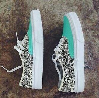 vans shoes cool aztec aqua skater shoes