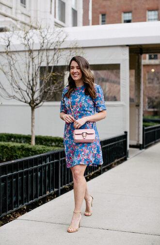 sequins and stripes blogger dress shoes bag floral dress blue dress crossbody bag spring outfits sandals high heel sandals