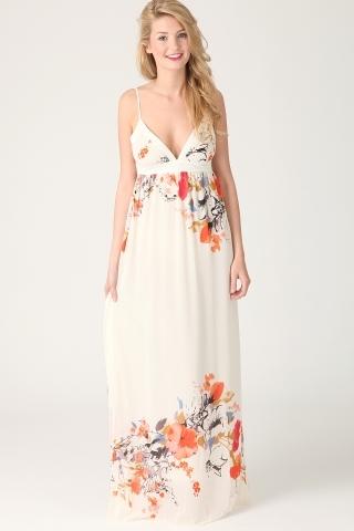 shahla flower print backless maxi dress in cream dresses