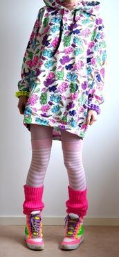 Dinosaur print,kawaii hoodie,kawaii,jfashion,neon,bright,gyaru,socks,shoes
