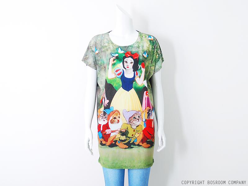 Women's snow white animal cat printed graphic t shirt long top dress s m l