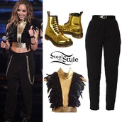 top,high waisted,jade thirlwall,american apparel,shoes,jewels,DrMartens,boots,crop tops,black pants,stealherstyle