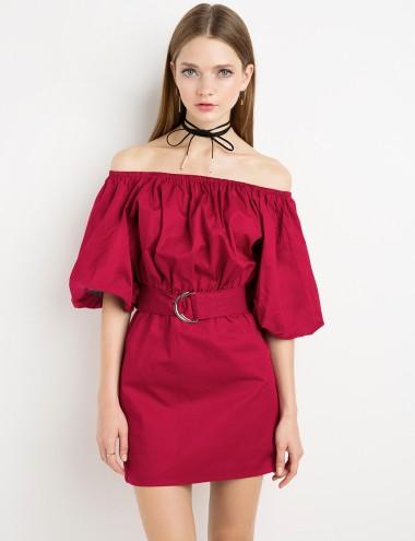 Red Belted Off The Shoulder Dress