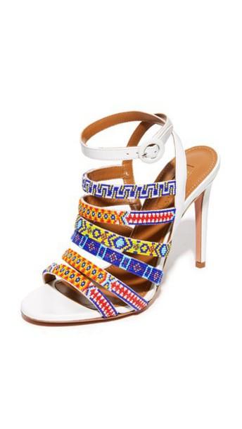Aquazzura Beaded Sandals in white