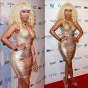 dress,clothes,gol,gold,gold dress,nicki minaj style