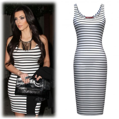 America – Stripe Bodycon Dress in Black and White
