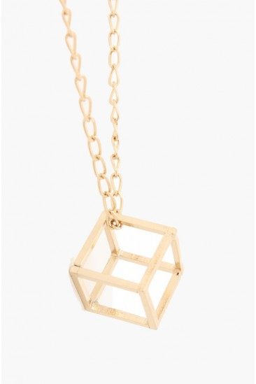 OMG Open Cube Necklace - Gold