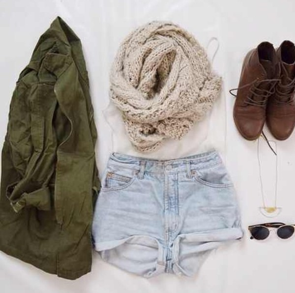 scarf boho hipster alternative grunge soft grunge denim shorts green jacket infinity scarf boots shoes sunglasses shorts