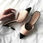 shoes,chanl shoes,chanel mules,tumblr,mules,nude shoes,chanel