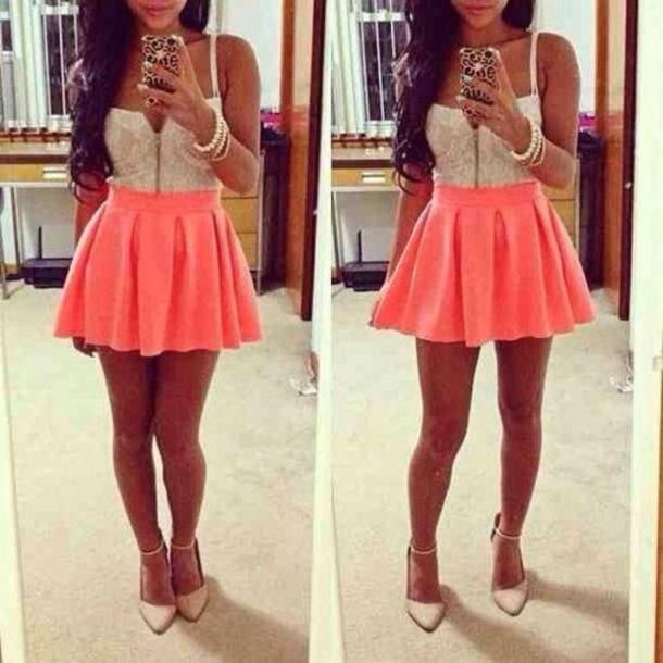 daaa30e55f9c skirt shoes coral short white girly dress shirt shorts socks skater skirt  pink pink skirt cream