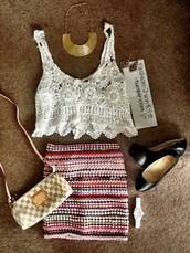 tank top,top,white,lace,knit,summer,style,aztec,skirt,pink,gold,necklace,bag,shoes,holey knit,knitwear,crop tops,clothes,crochet crop top,stripes,white crop tops