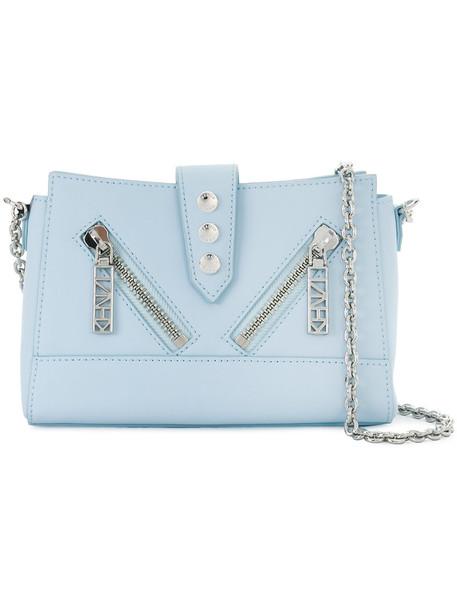 Kenzo women bag shoulder bag leather cotton blue