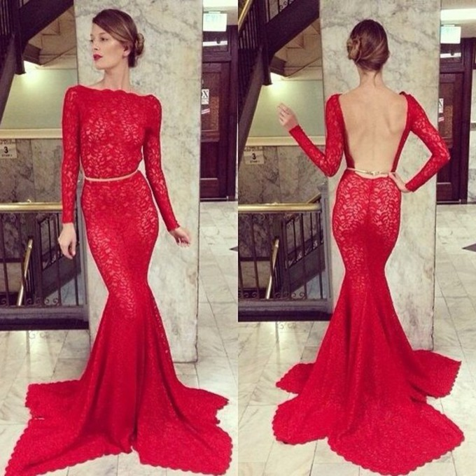 Red Open Back Mermaid Dress Dress Open Back Red High Neck