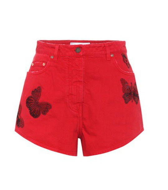 Valentino shorts denim shorts denim embroidered cotton red