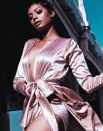 jacket fashion toast fashion vibe style scrapbook robe pink dress satin dress