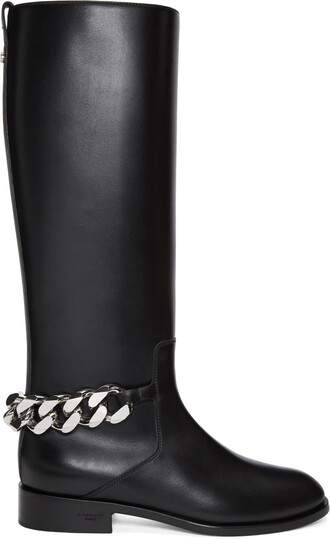 knee-high boots high black shoes