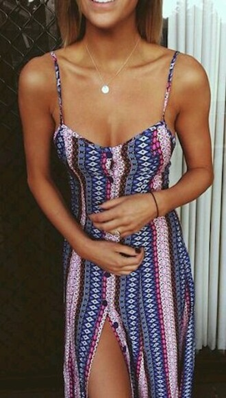 dress style fashion long dress button up colorful tribal print dress cute dress maxi dress maxi skirt maxi cute skirt outfit pink dress blue dress grunge dress