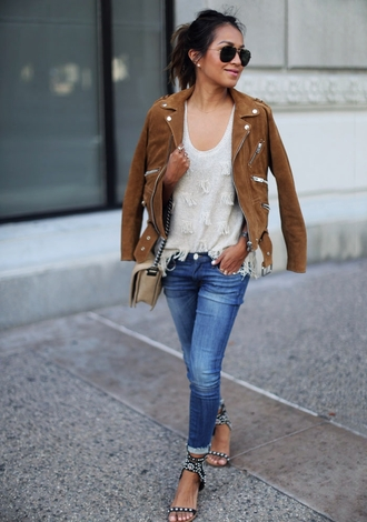 sincerely jules blogger jacket tank top jeans shoes