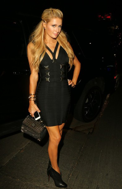 paris hilton ankle boots black dress bodycon dress