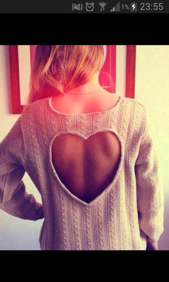 heart cut-out pullover wolle strick winter sweater sweater
