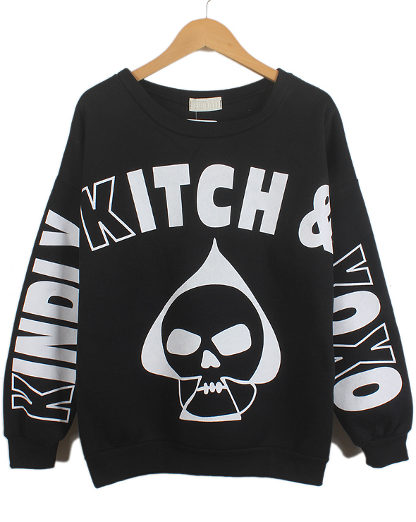 Black Long Sleeve Letters Skull Print Sweatshirt - Sheinside.com
