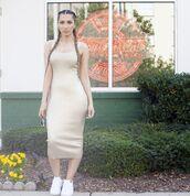 dress,knitted dress,sleeveless dress,ribbed dress,bodycon dress,gold dress,gold,midi dress,midi ribbed dress