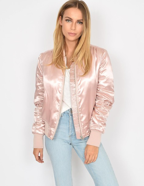 Blue Vanilla EMMA - Pink Satin Bomber Jacket