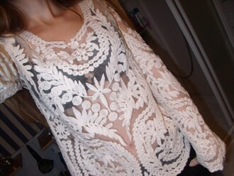 shirt top lace hollow transparent white cute