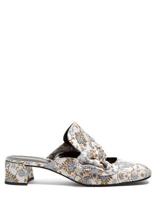 heel jacquard mules silver shoes