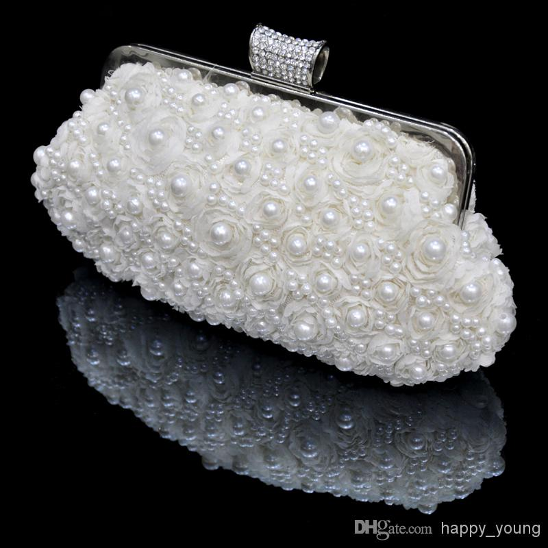 Discount In Stock No Risking Wedding Accessories Pearls Floral Party Prom Hand Bags Bridal Hand Bags BH12 Online with $15.71/Piece | DHgate