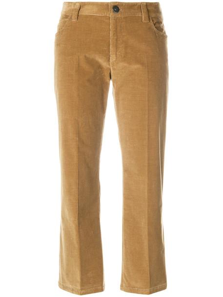 Prada cropped women spandex cotton velvet brown pants