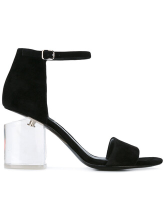 heel women sandals leather black shoes