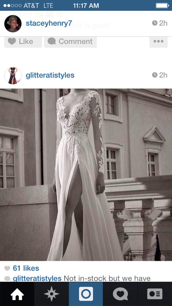 dress lace long prom dress prom dress white dress white lace dress long sleeve prom dress