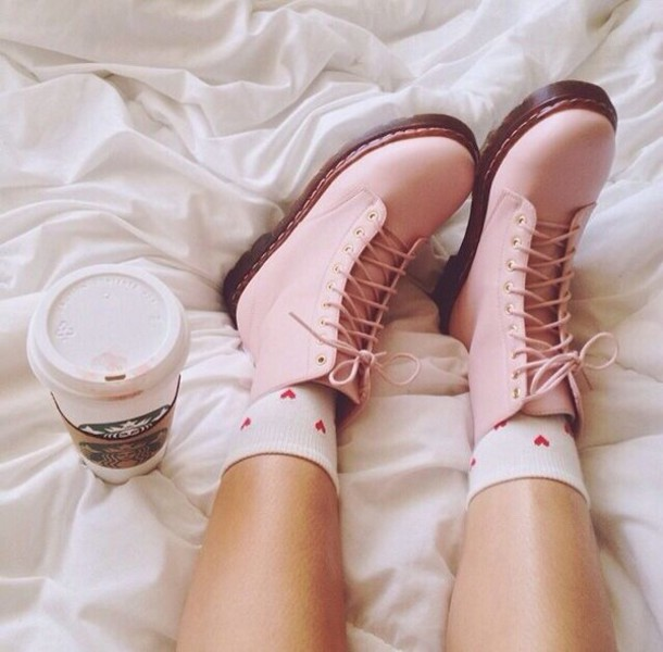 shoes pastel pink boot DrMartens