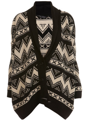 Black aztec print cardigan