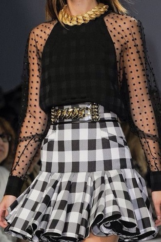 dress black white fashion model gingham ruffle sheer polka dots gold chain