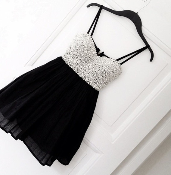 dress formal black and white pearl sparkly little black dress