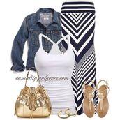 skirt,maxi striped skirt,denim jacket,navy skirt,white tank top,flat sandals,gold purse,gold earrings,shoes
