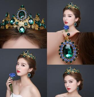 jewels wedding bridal tiaras crowns emerald crystals beads gold 2 pieces a set earrings headpieces hair royal crown