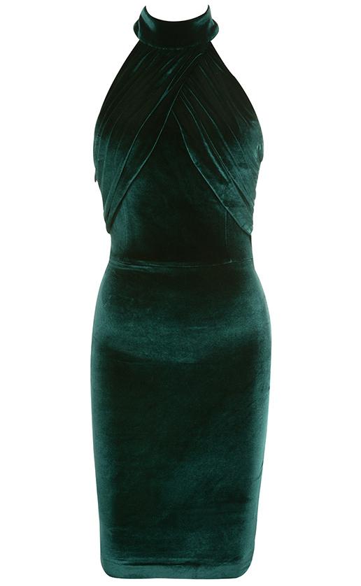 Halter Backless Velvet Dress Green