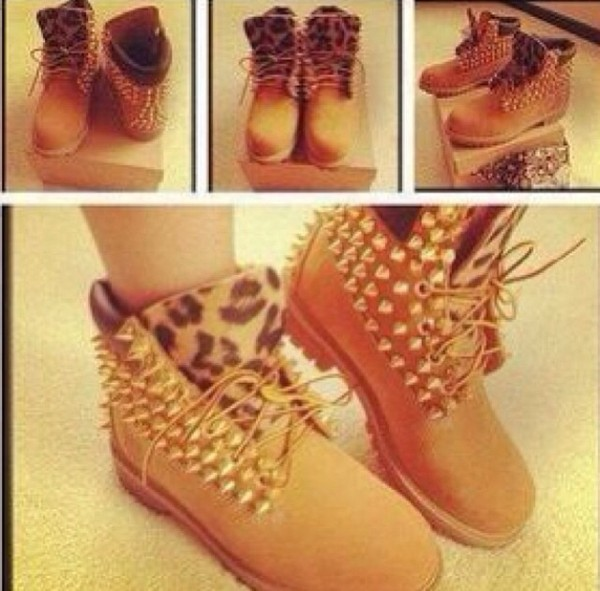 shoes boots timberlands cheetah print tongue spiked boots cute shoes