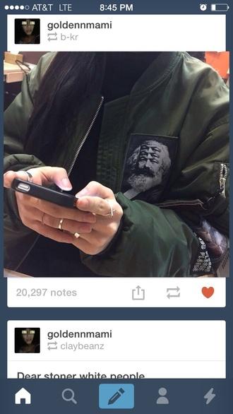 jacket bomber jacket zippers green jacket patchwork